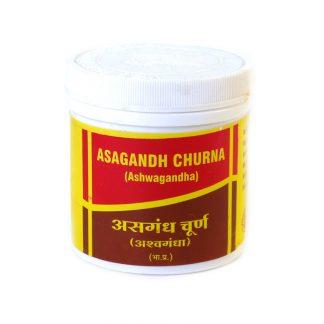 Ашвагандха чурна, улучшает работу мозга, повышает память, работоспособность, обладает целебными свойствами, омолаживает, 100 г,  Asagandh (ashwagandha) Churna, Vyas Pharmaceuticals