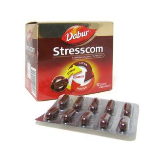 Стресском, при интенсивном образе жизни, стрессовых ситуациях, для улучшения мозговой деятельности 120 капсул, Stresscom, Dabur, Индия