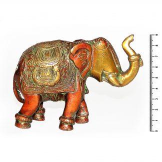 Слон с попоной коричневый h 9*13.5 см