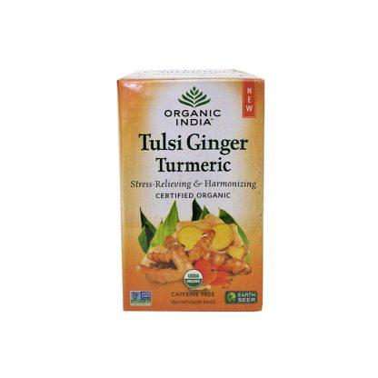 Чай Тулси Куркума и Имбирь: снятие стресса и детоксикация, Tulsi ginger turmeric tea, Organic India, 18 пакетиков
