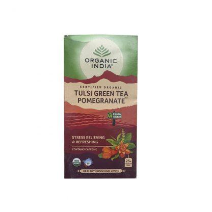 Чай Тулси с Зеленым чаем и Гранатом 25 пакетиков, Tulsi Green Tea Pomegranate, Tea Bags, Organic India