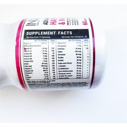 Витаминный комплекс для здоровых волос, кожи и ногтей 60 капсул, Advanced Hair, Skin, And Nails With Biotin,Multivitamins&multi-minerals, Inlife