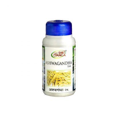 Ашвагандха, улучшает работу мозга, повышает память, работоспособность, 120 таб, Ashwagandha, Shri Ganga